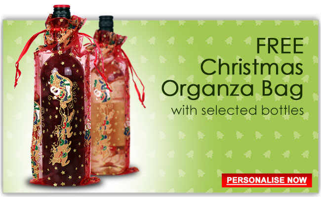 Free Christmas Organza Bag with large range of personalised wine