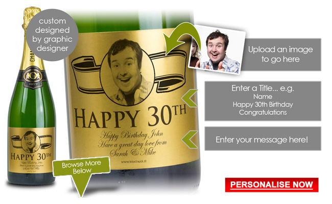 30th Birthday Gift Gold Personalised Champagne