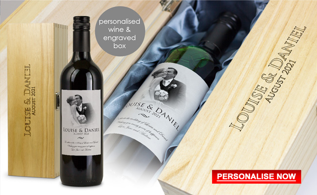 Luxury Wedding Gift Personalised Wine and Engraved Wooden Gift Box
