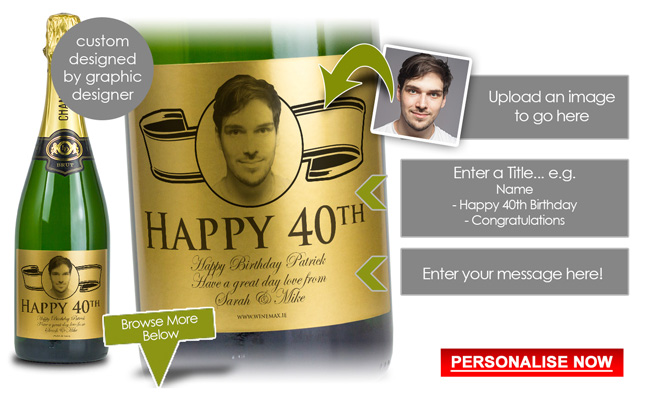 Gold Label 40th Birthday Gift Personalised Champagne