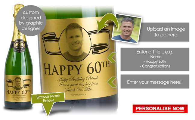 60th Birthday Gift Personalised Champagne Ireland
