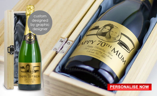 Personalised 70th Birthday Gift For Her Ireland Gifts Presents Idea Wine Grandad
