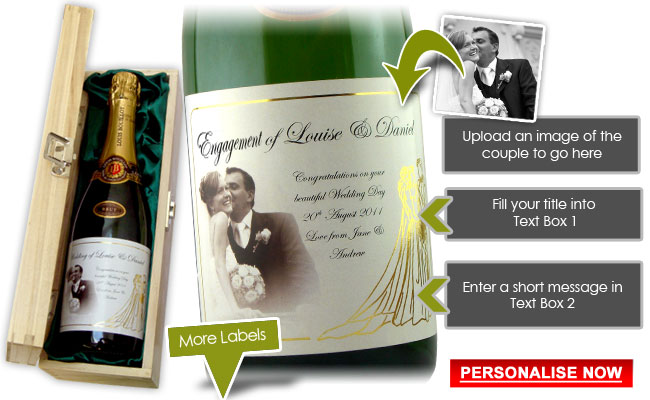 engagement gifts for couples - personalised champagne