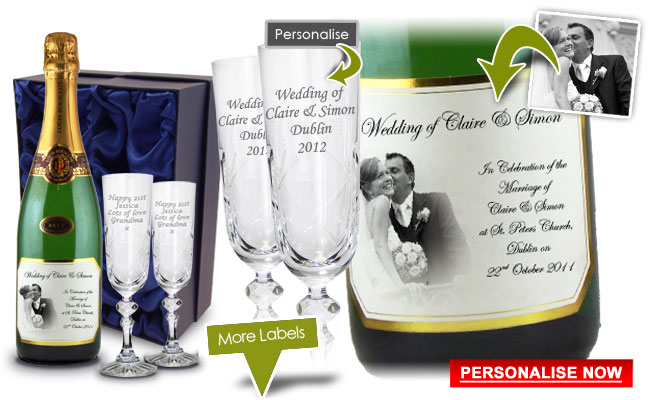 Wedding gift personalised present champagne and flutes