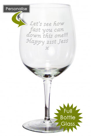 30th Birthday Gift Full Bottle Personalised Engraved Wine Glass